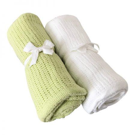 Virgel Strikket Babytæppe hvid og limegrøn